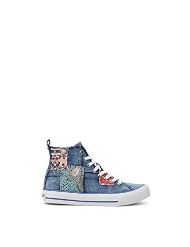 Desigual Shoes_Beta_Denim Patch, Zapatillas Mujer, Azul, 37 EU