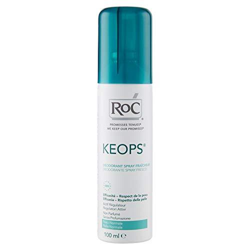 ROC KEOPS Fresco - Desodorante Spray, Pieles normales, Sin perfume, sin alcohol, Piel fresca durante 48 horas, 100 ml
