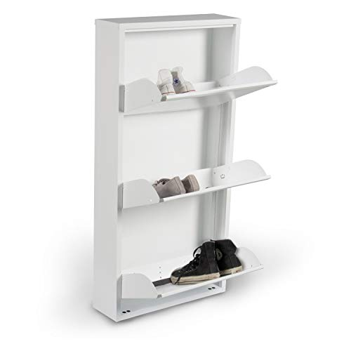 Dmora - Zapatero de Metal con Tres Puertas abatibles, Color Blanco, 50 x 15 x 130 cm de Altura