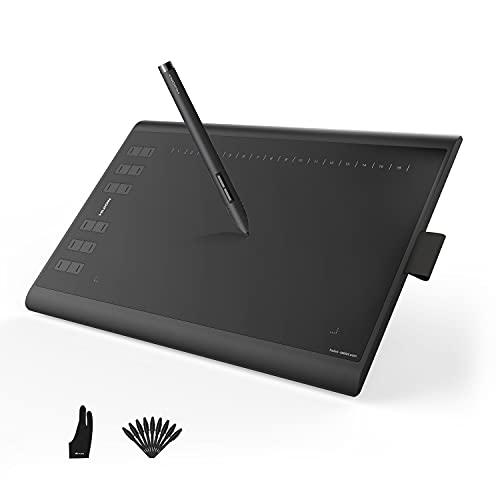 HUION Inspiroy H1060P Tavoletta Grafica, Blocco da Disegno 10 x 6,25 Pollici, Penna Senza Batteria con Funzione di Inclinazione, Windows Mac Android, Adatta per l'Home Office e l'E-Learning