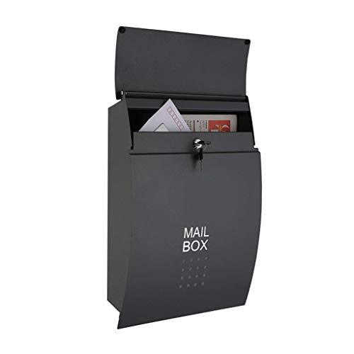 Afsluitbare brievenbus - Wall Mail Box RVS Brievenpost Doos Muur Monteerbaar Met Krant Houder Snelle Verzending 32×5×37CM(zwart)