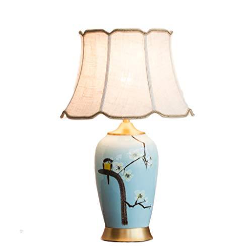 DS Lampes De Bureau Lampe de table d'art moderne en céramique chinoise peinte à la main, lampe de table décorative de salon d'étude de haute qualité, base de cuivre, source lumineuse d'E27 (non inclus