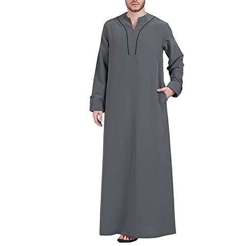 YHQKJ Vestido Casual árabe de los Hombres, Vestido Tradicional en V Cuello en v Manga Larga Vestido Ultra Largo para Casual (Color : A, Size : 3XL)