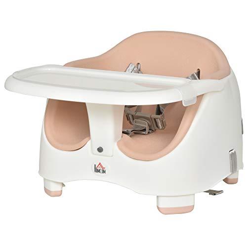 HOMCOM Kinder Boostersitz Sitzerhöhung Babysitz zum Füttern und Spielen mit abnehmbaren für 6-36 Monate Beige PP PU Rosa 37L x 47B x 31-35H cm