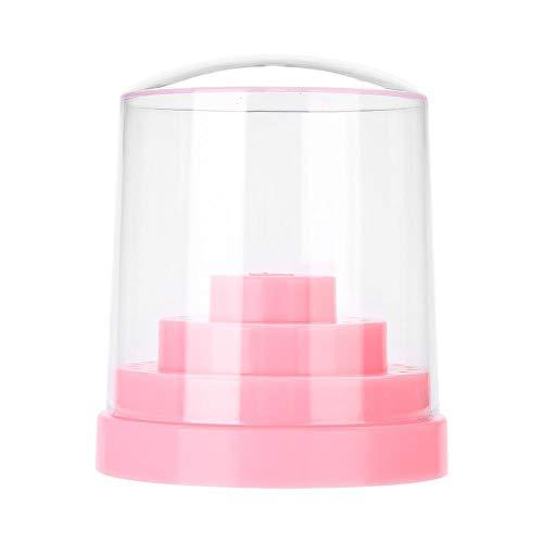 48 Hoyos Titular de Taladro de Clavo, Plástica brocas de almacenamiento caja para molienda jefes, exhibición de la máquina, esmalte de uñas(Pink)