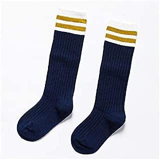 Lovely Socks Children Cotton Socks Kids Cotton Spring Stripe Mid Tube Socks (Grey) Newborn Sock (Color : Navy, Size : S)