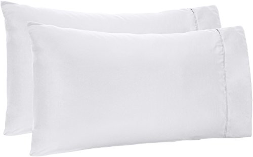 AmazonBasics Light-Weight Microfiber Pillowcases - 2-Pack, Standard, Bright White