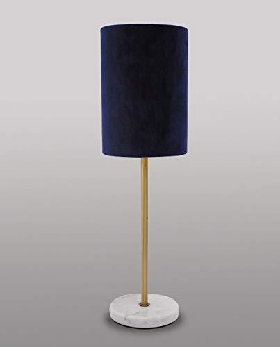 Handgefertigte Tischlampe Messing massiv Marmorfuß in Blau Premium Design Tischleuchte Wohnzimmer