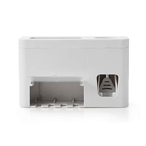 SFLRW Kit de expresión del dispensador de pasta de dientes automática con soporte de cepillo de dientes montado en la pared, 4 ranura de cepillo de dientes con cubierta, cajón organizador cosmético