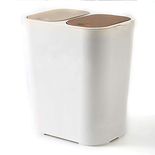 Liang's Treasures Cubo de basura de reciclaje, 2 x 23 L, doble compartimento para separación de residuos, papelera de plástico a prueba de huellas dactilares(blanco)