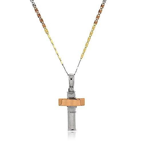 Gioiello Italiano - Herenketting in goud drie kleuren 14kt met kruis hanger en keramiek