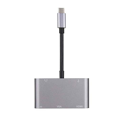 Adaptador USB C a HDMI VGA 4K Ifmeyasi 5-en-1 USB C Hub con HDMI 1080P VGA USB 3.0 USB-C PD Carga de audio - Gris - Gris
