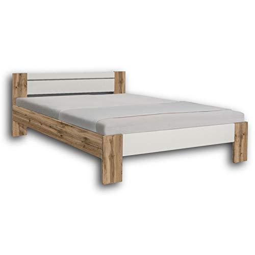 Stella Trading Vega Stilvolles Futonbett 140 x 200 cm - Komfortables Jugendzimmer Doppelbett in Wildeiche Optik, weiß - 145 x 61 x 204 cm (B/H/T)
