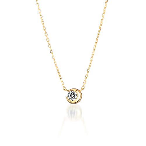 STAR JEWELRY 公式(スタージュエリー) K18 ネックレス MOON SETTING DIAMOND NECKLACE 0.06ct