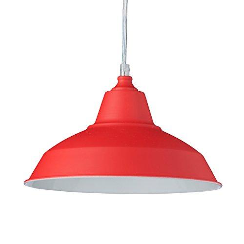 Relaxdays Pendelleuchte Industrie, Deckenleuchte einflammig, Hängelampe Metall und Holz, HxBxT: 112 x 28 x 28 cm, rot