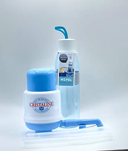 agua quick 2X Original Pumpe für 5 Liter Flaschen - Set + 1x Biodora Dora´s Glasflasche mit Neopren 500 ml Yoga, hellblau
