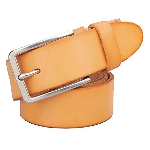 zdz Cintura in Pelle da Uomo da 1,5',in Acciaio Inox Brown Fibbia in Acciaio Inox Belfisa Reversibile Avvolgente,Jeans Casual da Uomo Abito da Lavoro (Color : Yellow, Dimensione : 49.2 inchs)