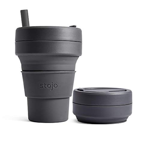 Stojo Collapsible Coffee Cup | Reusable To Go Extra Large Travel Cup – Carbon Gray, 24oz / 710ml |...