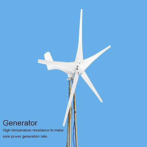 Kit de generador de turbina eólica, 400 W 12/24/48 V Fuente de alimentación pequeña de 5 Palas Opcional para Cabina de Barcos de Sala móvil, generación de energía renovable(12V)