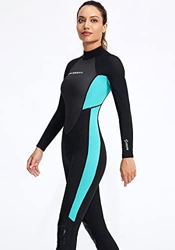 WYCcaseA Traje de neopreno para hombre, manga larga para mujer, traje de buceo de una sola pieza, neopreno de 3 mm, con cremallera trasera extendida para deportes acuáticos, surf, natación, azul/mujer