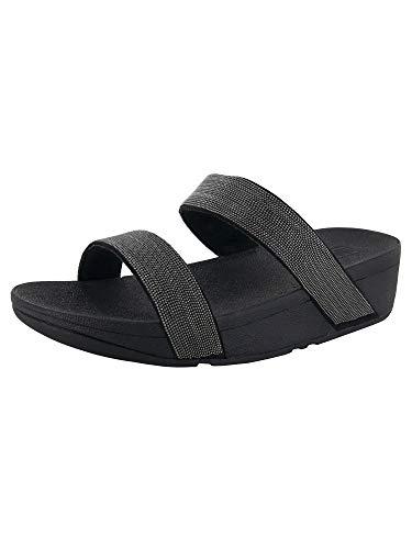 FitFlop Women's Lottie Shimmer Mesh Slide Black/Black 9 M US (8)