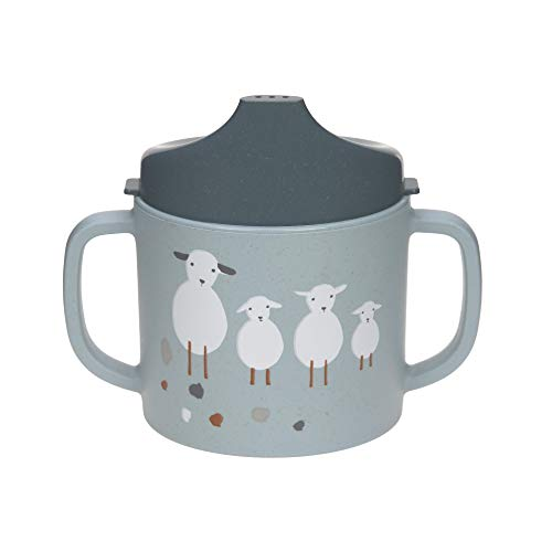 Lässig 1310066841 Bicchiere Con Manico/Sippy Cup Pp/Cellulose Tiny Farmer Sheep/Goose Blue - 72 g