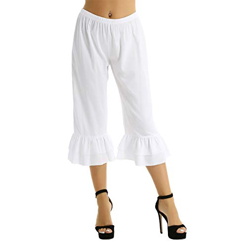 Yeahdor Women's Victorian Pantaloons Ruffle Bloomers Pants Steampunk Pirate Cosplay Fancy Dress Costumes White Large
