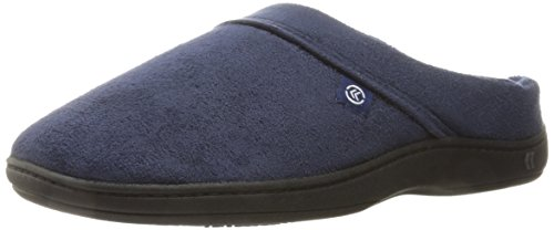 isotoner Men's Microsuede Devin Slip On Slipper with with Cooling Memory Foam for Indoor/Outdoor Comfort Navy Blue