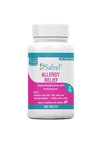 Safrel Allergy Relief Medicine | Antihistamine Diphenhydramine HCl 25 mg (600 Tablets) | Children and Adults | Relieves Symptoms of Sneezing, Runny Nose, Hay Fever, Itcy Eyes and Throat | Value Pack