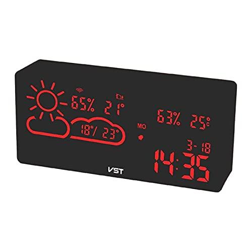SPFCJL Estación meteorológica Digital Reloj de Alarma Termómetro Termómetro LED Temperatura Humedad Aplicación Smart WiFi Pronóstico Monitor Reloj (Color : Red)