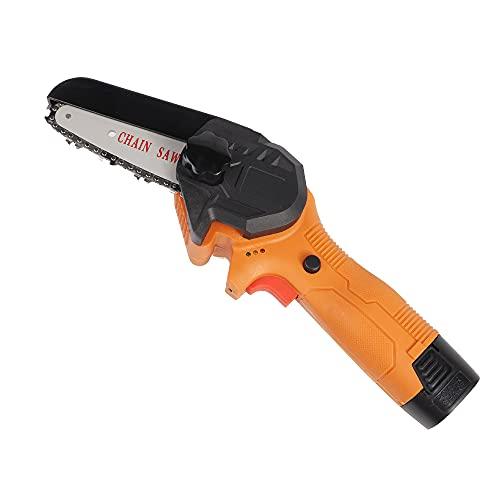 Mini motosierra, sierra de poda eléctrica inalámbrica de mano con batería recargable tijeras de poda portátil para cortar rama de árbol y jardín