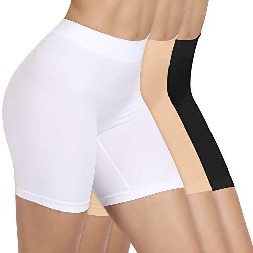 SIHOHAN Damen Unterhosen, Lange Frauen Panties, hohe Taille und Bequem(Schwarz+weiß+beige,L)