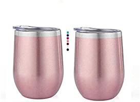 12 Ounce Stemless Wine Glass Tumbler with Lid Stainless Steel Double Wall Vacuum Insulated Travel Cup