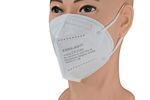 Ferreira Marques 25 Stück FFP2 Masken 5-lagig Staubmaske mit Ohrenschlaufen Atemschutzmaske CE Zertifiziert EN 149 Einwegmaske Weiß Mundschutz Lager Deutschland