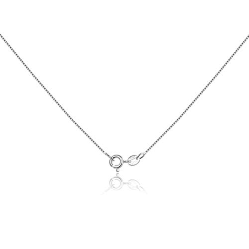 925 Sterling Silver Chain 0.6mm Box Chain- Sterling Silver Chain Necklace with Spring Clasp - Italian Necklace Chain-Super Thin Strong 16/18/20/22/24 Inch (16.0)