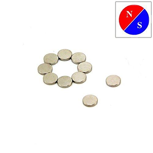 Magnet Expert® F306DM-10 diamètre 6mm x 1 mm d'épaisseur magnétisée diamétralement Aimant en néodyme N42 (Pack de 10), Métal, Argent, 15x10x3 cm