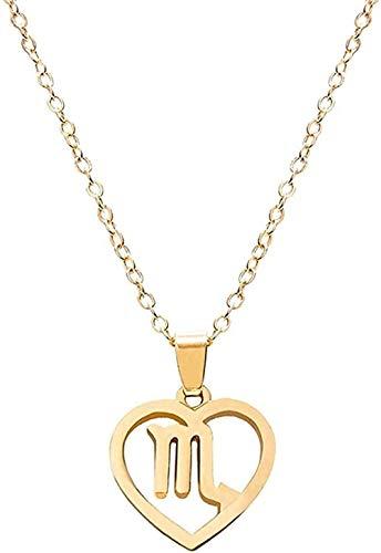 huangxuanchen co.,ltd Collar con Colgante de constelación, Collar con Forma de corazón Hueco con Logotipo de Shaw, Collar de Cadena de clavícula, joyería Unisex