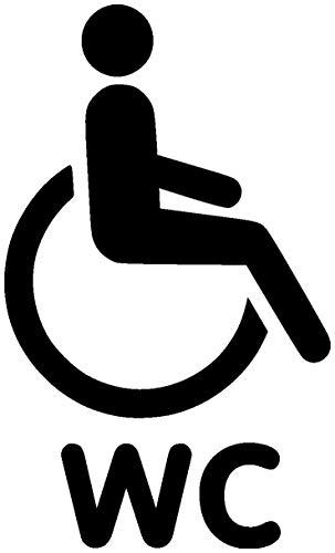 Samunshi® Behinderten WC Tür Schild Türaufkleber Wandtattoo in 6 Größen und 19 Farben (12x20cm schwarz)