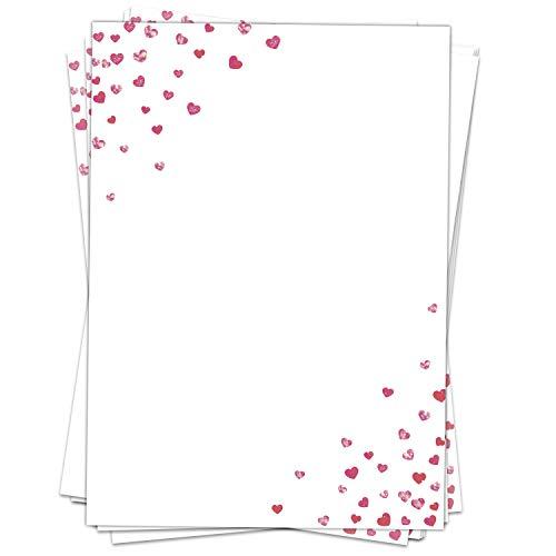 Briefpapier Design-Motiv Liebe Love Herzen - 50 Blatt, DIN A4 Format, Liebesbrief Bastel-Papier beidseitig bedruckt