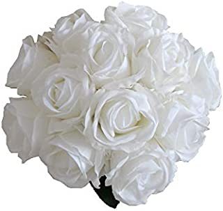 "Mandy's 12pcs Artificial White Roses 11"" Silk Flowers for Wedding Party Home Kitchen Centerpiece (vase not Include)"