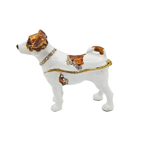 Vosarea Trinket Box Hinged Dog Jewelry Box for Earrings Ring Table Decor