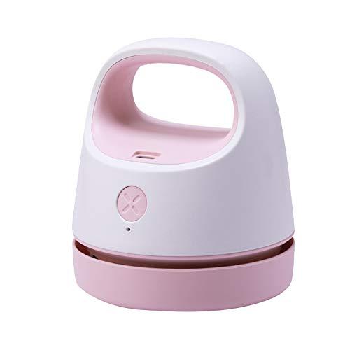 Yagosodee Aspiradora de Escritorio Portátil Mini USB de Carga de Mano de Oficina Hogar Limpiador Multifuncional (Rosa)