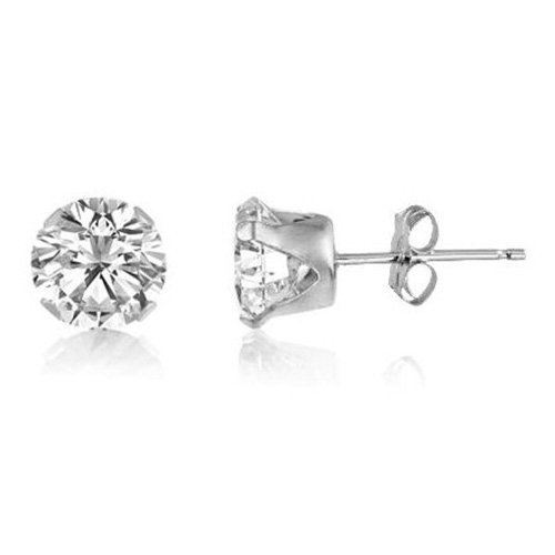 8MM Bling MENS Diamond Round Cut Cubic Zirconia (CZ) Sterling Silver Stud Earrings – White/Clear - Beckham Style