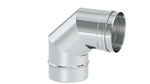 Schornstein - Winkelelement EW einwandig mit 90° Winkel starr, Innendurchmesser 120mm; 0,6mm Wandstärke, Edelstahl