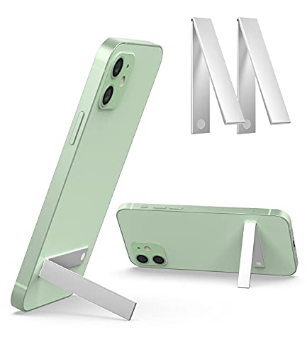 2 Pack Cellphone Kickstand Holder - TINICR Universal Vertical & Horizontal Adjustable Aluminum Stand Wireless Charging Supported Desk Holder Compatible with Any Phone, Silver
