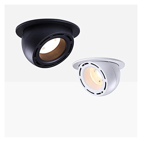 YSJJJBR Foco Empotrable LED Dimmable incrustado retráctil COB LED Techo 7W 15W 2 0W 24W AC85-265V Ajustable 360 Grado DIRIGIÓ Tronco Downlight Inicio Iluminación