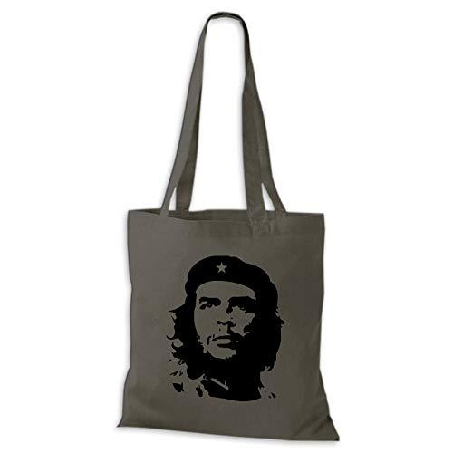 Shirtastic Baumwolltasche Jutebeutel Che Guevara Kuba Cuba Argentinien Viva la Revolution Rebellen Stoffbeutel, Farbe:grau, Größe:38 x 42cm