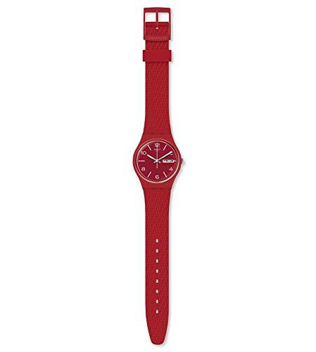 Swatch Unisex Erwachsene Analog Quarz Uhr mit Silikon Armband GR710