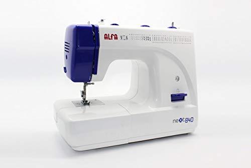 Alfa NEXT840 - Máquina de Coser (Máquina de Coser semiautomática, Azul, Blanco, Costura, Paso 4, 4 mm, Palanca, Giratorio)