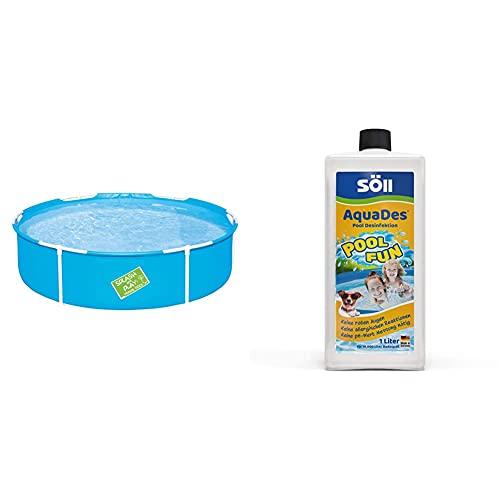 Bestway My First Frame Pool, Kinderpool, 152 x 38 cm & Söll 31430 AquaDes Pool-Desinfektion flüssig 1 l - wirksame Poolreinigung Wasserpflege gegen Bakterien